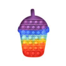 Rainbow Cup Pop It Fidget Toy Push Pop Bubble Sensory Fidget Toy Stress Relief for Kids & Adult
