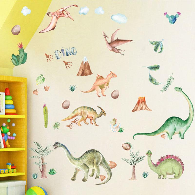 Dinosaur Cartoon Cute Animals Plane Wall Stickers Wallpaper Children Room Kindergarten Decoration