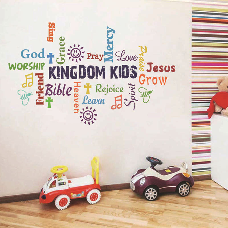 Home Decorative Kid Rainbow Letters Text Classroom Background Stickers Wallpaper