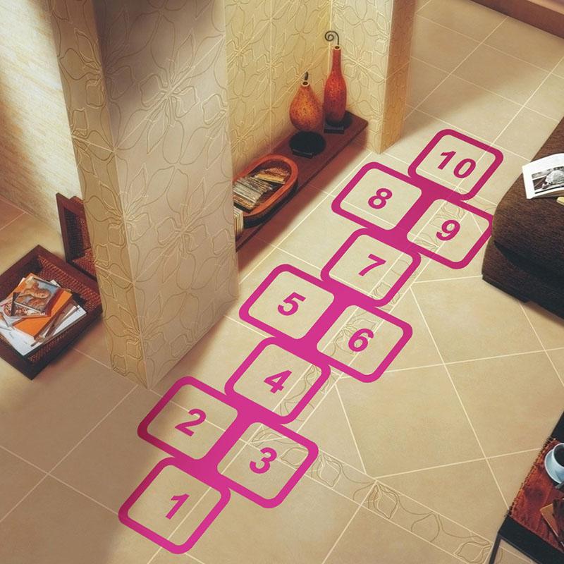 Home Decorative Skip Number Grid Classic Game Hopscotch Children's Room Bedroom Sticker