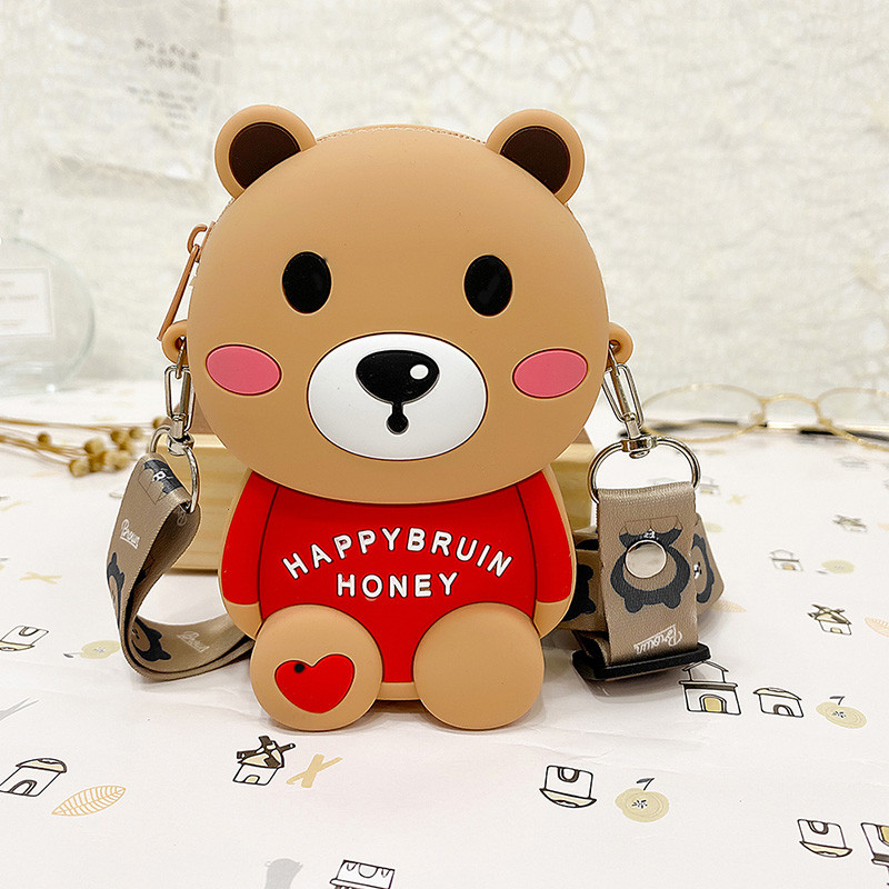 Cute Happy Honey Brown Bear Silicone Coin Purse Single Shoulder Bag