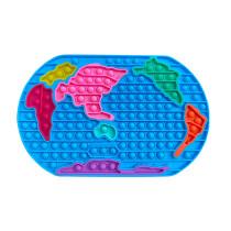 World Map Pop It Fidget Toy Push Pop Bubble Sensory Fidget Toy Stress Relief for Kids & Adult