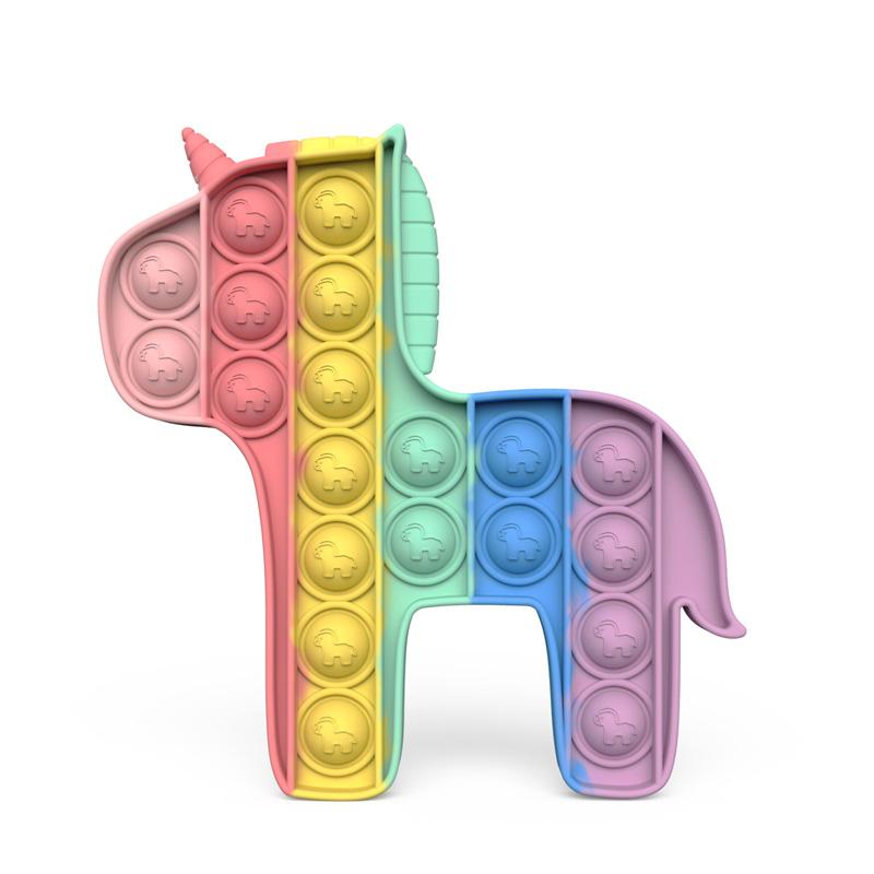 Rainbow Pony Pop It Fidget Toy Push Pop Bubble Sensory Fidget Toy Stress Relief for Kids & Adult