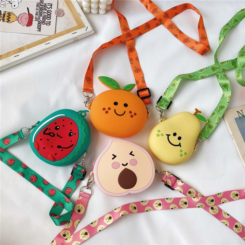 Cute Fruit Peach Pear Watermelon Silicone Coin Purse Shoulder Crossbody Bag