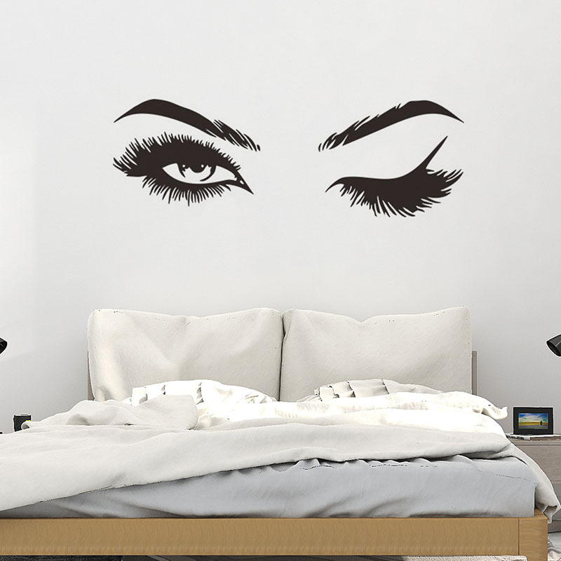 Home Decorative Eyelash Wallpaper Paste Living Room Bedroom Can Be Removed Decorative Painting