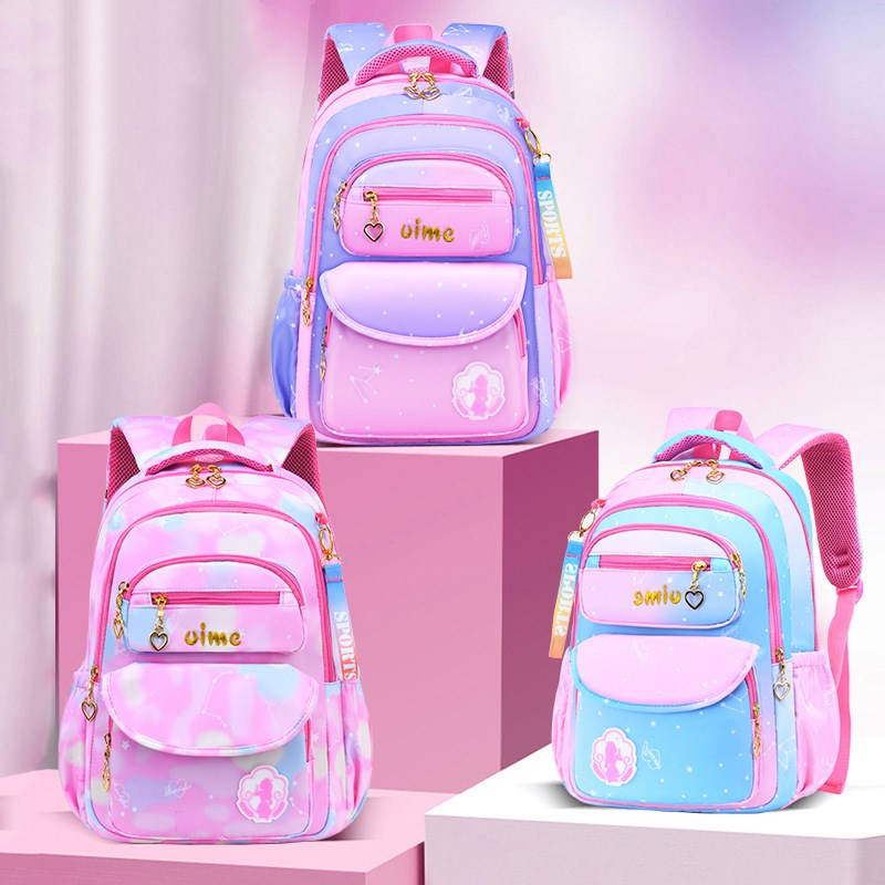 Girl Ombre Pink Purple Students Backpack School Bag