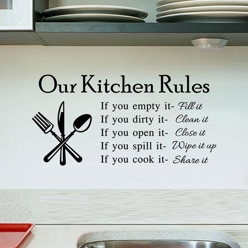 Home Decorative Slogan  Our Kitchen Rules  Kitchen Room Decorative Wallpaper Stickers