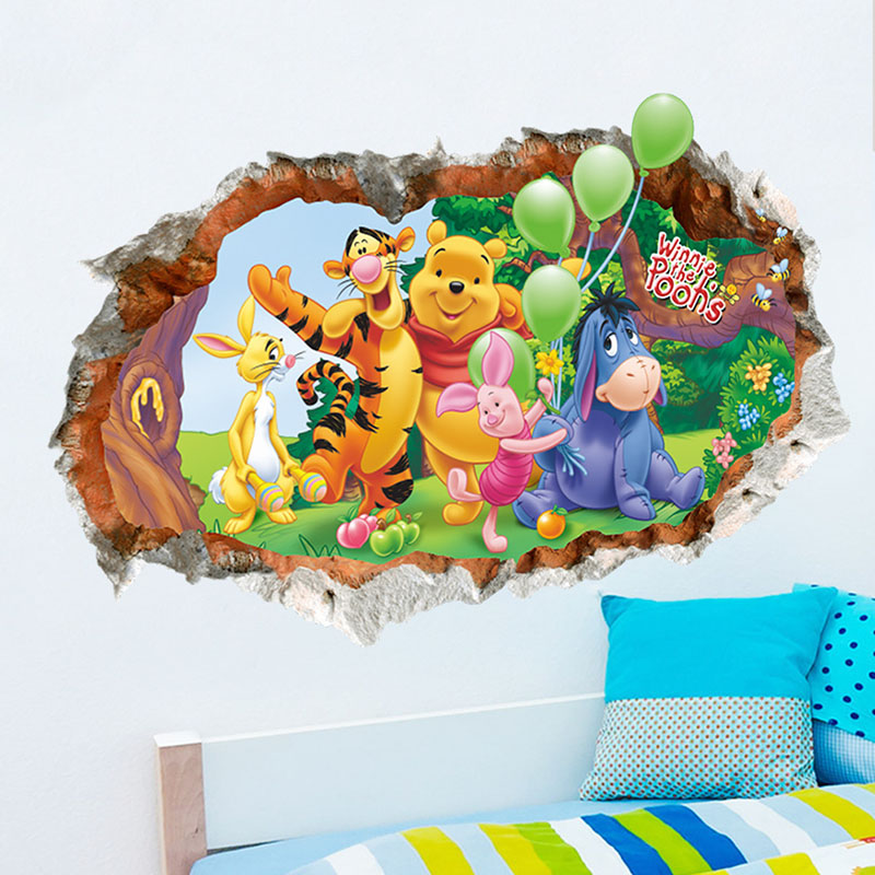 Home Decorative Winnie The Pooh Room Background Wall Sticker Wallpaper