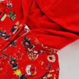 Christmas Family Matching Red Pajamas Gift Pattern Jumpsuit Hooded Pajamas