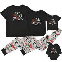 Christmas Family Matching Pajamas Slogan Deer T-shirt Top and Multielement Pants Sets