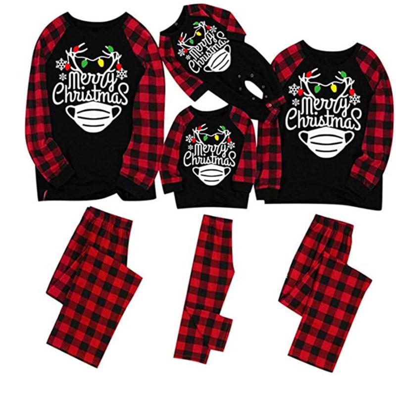Christmas Family Matching Pajamas Merry Christmas Antlers Neon Lights Tops and Plaid Sets