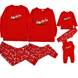 Christmas Family Matching Pajamas Red Elk Letters Tops and Deer Pants Family Pajamas Sets