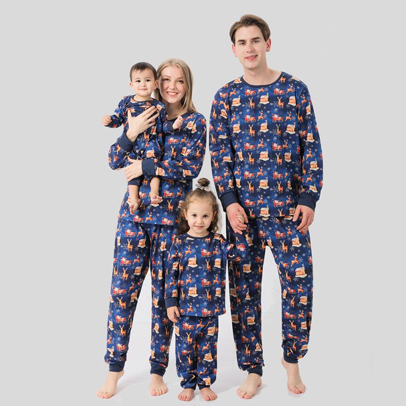 Christmas Family Matching Sleepwear Pajamas Sets Navy Deer Santa Snowflake Family Pajamas