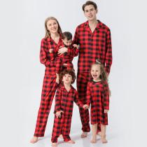 Christmas Family Matching Sleepwear Pajamas Sets Red Plaids Sets With Dog Cloth