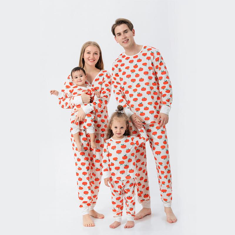 Christmas Family Matching Sleepwear Pajamas Sets Tangerine Pattern Family Sets