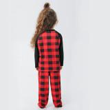 Christmas Family Matching Sleepwear Pajamas Sets Red Plaids Letter Deer Family Pajamas