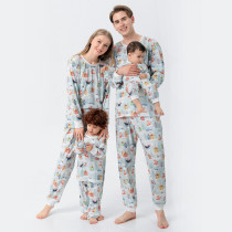 Christmas Family Matching Sleepwear Pajamas Sets Full Fox Snowman And House Pattern Sets