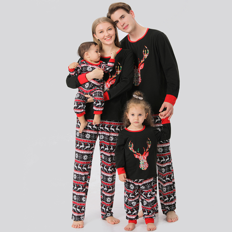 Christmas Family Matching Sleepwear Pajamas Black Sets Rainbow Letter Deer Tops And Multielement Pants