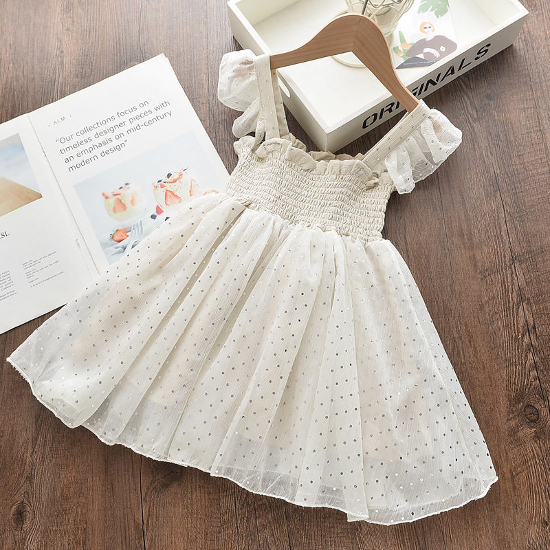Toddler Girls White Dot Sequins Ruffles Sleeves Lace Dress