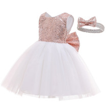 Toddler Girl Sequins Bowknot Princess Baby Party Gown Dress With Hair Band