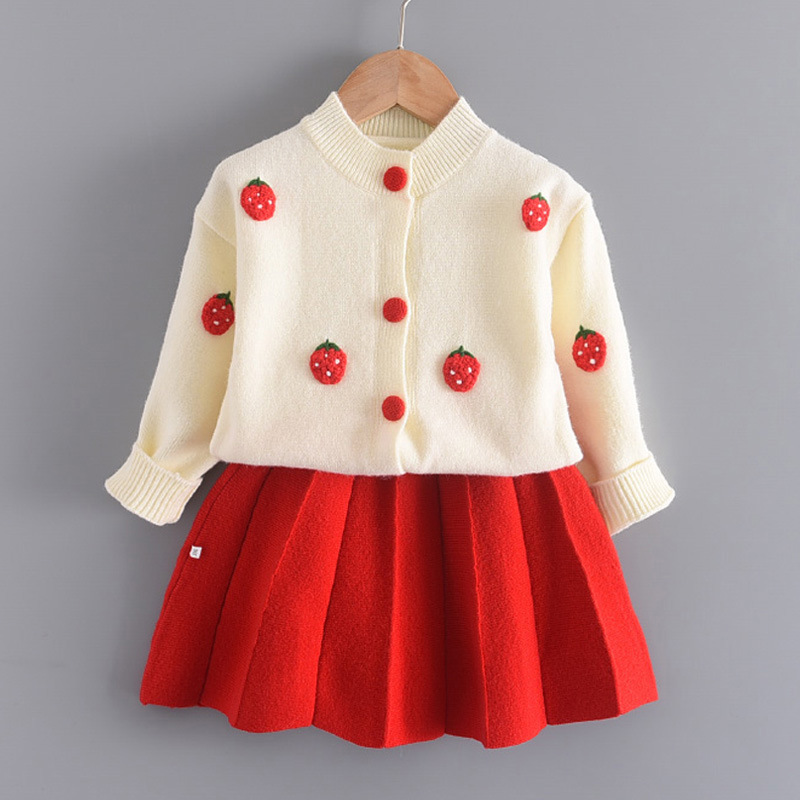 Girl Knit Strawberry Grape Cardigan Sweater and Pleated Skirt Set Outfit