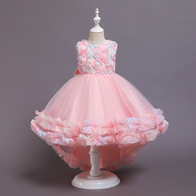 Girl Rainbow Tutu Flowers Bowknot Trailing Princess Gown Party Dresses