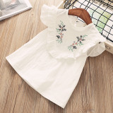 Girls Embroidery Flowers Ruffles Blouse Top and Bowknot Shorts Two-Piece Outfit