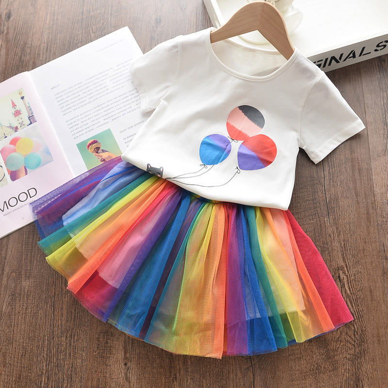 Girls Cat Balloon T-shirt and Rainbow Tutu Skirt Two-Piece Outfit