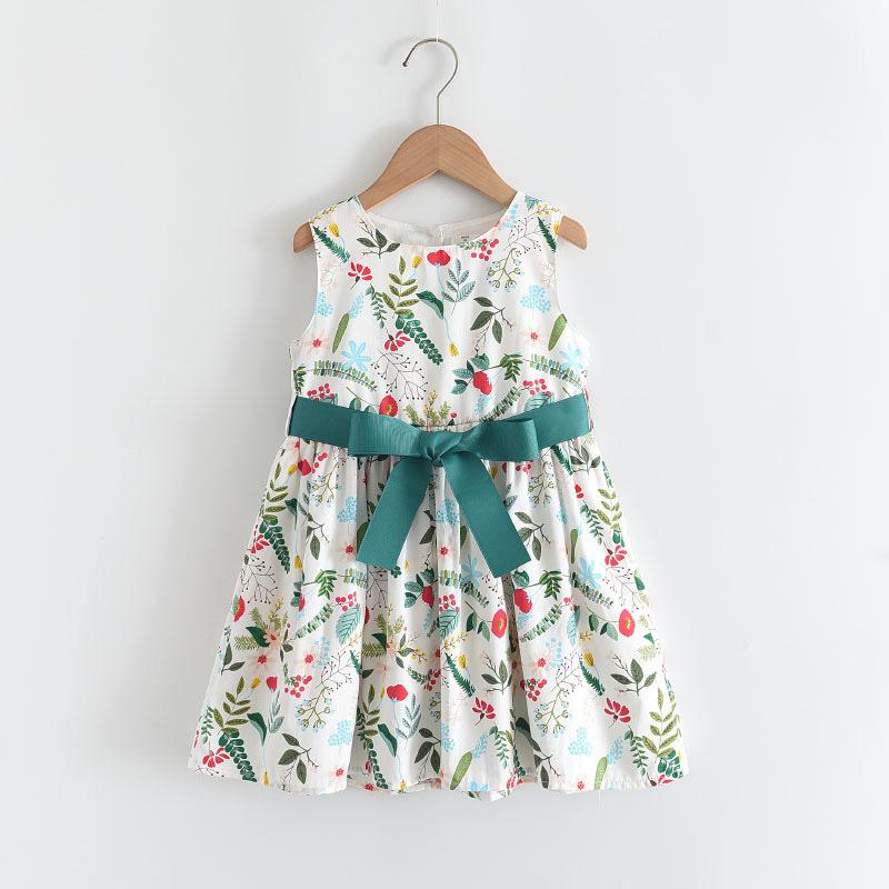 Girls Prints Flowers Green Bow Belt Summer Sleeveless Dress