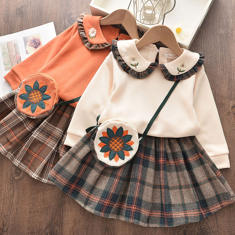 Girl Ruffle Embroidery Long Sleeve Sweatershirt and Pleated Skirt Clothes Set Outfit