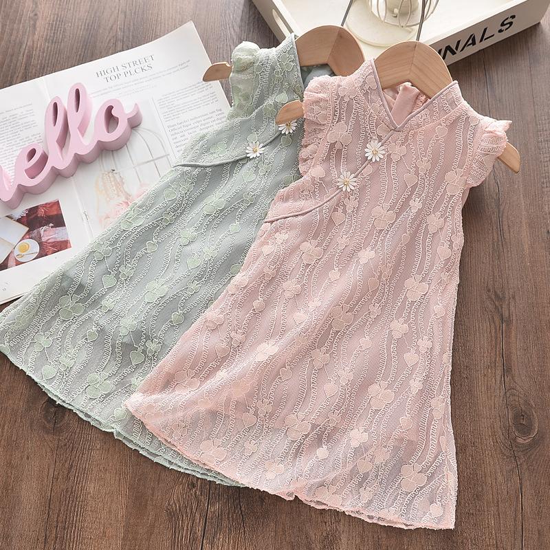 Girls Flowers Lace Summer Ruffles Sleeveless Cheongsam Chinese Dress