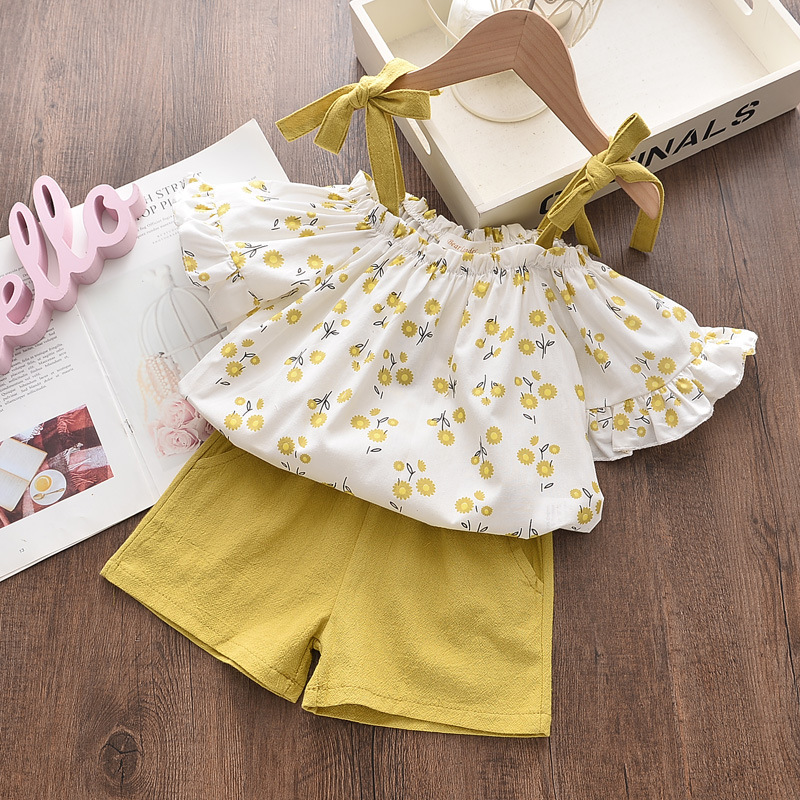 Girls Ruffles Shoulder Tied up Blouse Tops and Pure Shorts Two-Piece Outfit