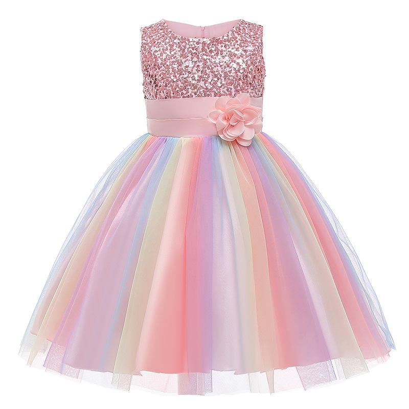 Girl Sequins Flower Belt Rainbow Tutu Gauze Princess Gown Dress