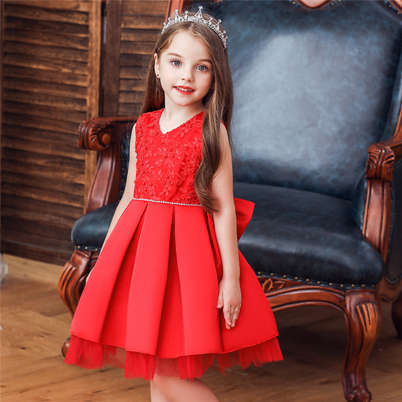 Toddler Girl Embroidered Jewelry Flower Tutu Bowknot Party Gown Dresses