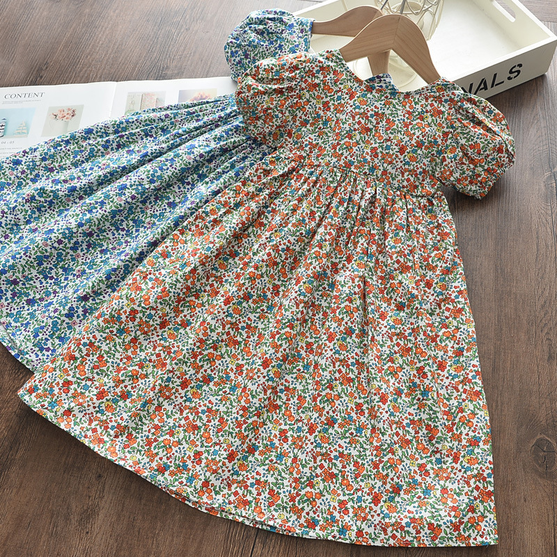 Girls Floral Backless Summer Short Sleeve Dress