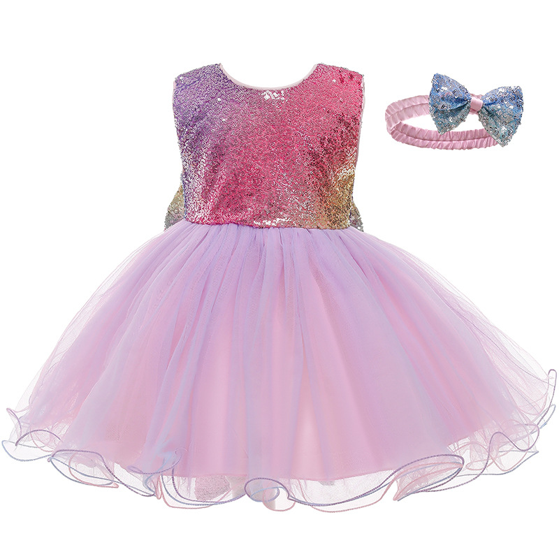 Toddler Girl Rainbow Sequins Tutu Princess Gown Dress With Hair Band