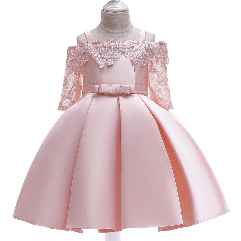 Girl Lace Flower Off The Shoulder Hollowed-Out Princess Gown Dresses