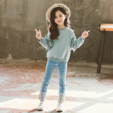 Girls Lace Long sleeve Sweater and Blue Jeans Two-Piece Outfits