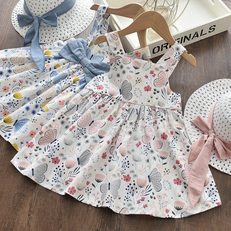 Girls Butterfly Flowers Summer Sleeveless Dress