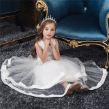 Toddler Girl Embroidered Jewelry Flower Bowknot Two Layers Lace Tutu  Party Gown Dresses