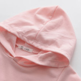 Girl Love Letter Hooded Long Sleeve Sweatshirt and Sports Pants Pink Set Outfit