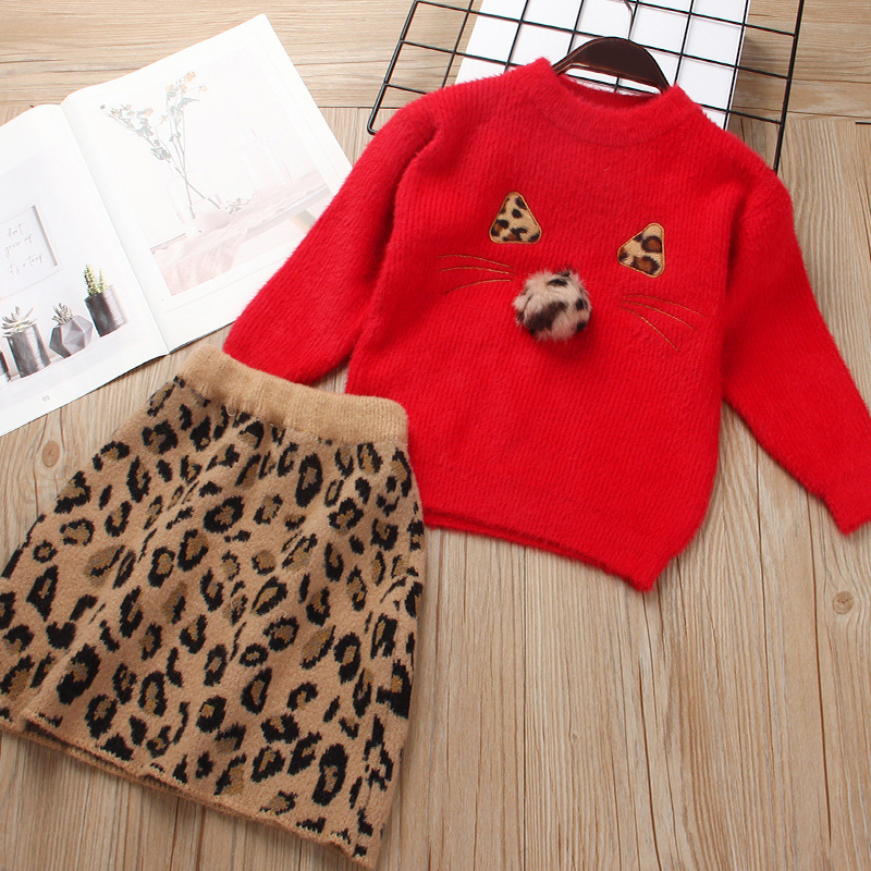 Girl Cute Cat Long Sleeve Sweater and Leopard Prints Skirt Set Outfit