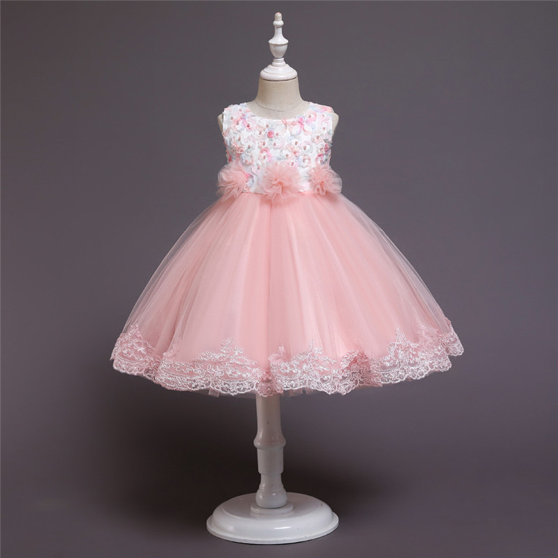Girl Pearls Tutu Floral Embroidered Bowknot Tutu Gown Dresses
