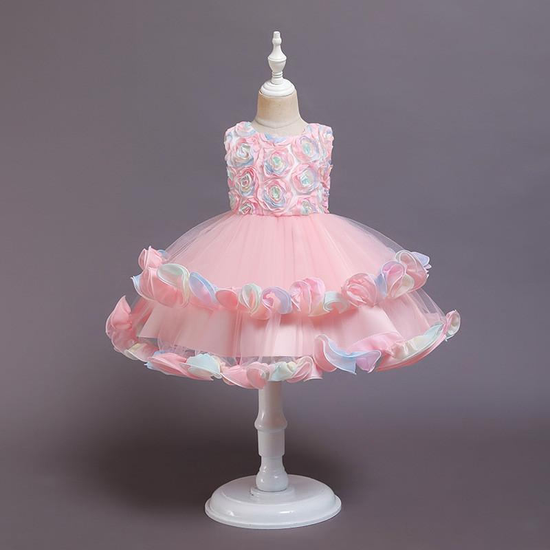 Girl Rainbow Tutu Flower Princess Sleeveless Dresses Two Layers Gown Dress