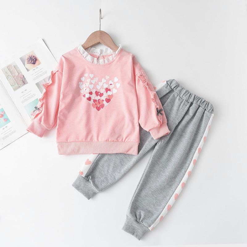 Girl Pink Heart Ruffle Long Sleeve Sweatshirt and Casual Pants Set Outfit
