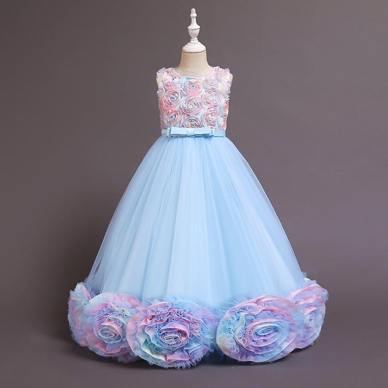 Girl Tutu Rainbow Flowers Princess Party Gown Maxi Dresses