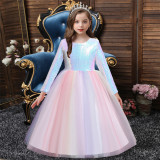 Girl White Sequins Tutu Princess Bowknot Party Gown Dresses
