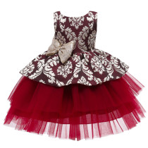 Toddler Girl Gold Embroidery Flowers Sequins Bowknot Backless Tutu Gown Dress