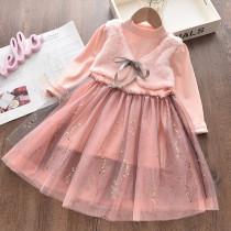 Toddler Girl Tulle Tutu Puffy Vest Splicing Long Sleeves Dress