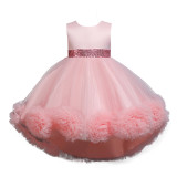 Girl Tutu Flowers Sequins Bowknot Trailing Gown Dresses